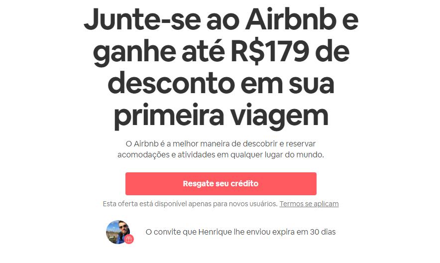 cadastro cupom de desconto airbnb